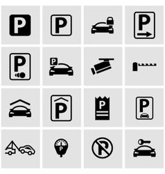black parking icon set vector image vector image