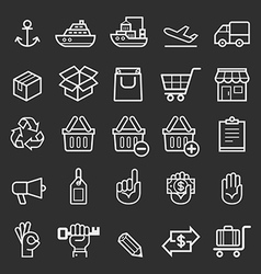 Business transportation element line icons vector