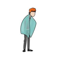 cartoon man sick with flu patient image vector image