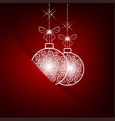 christmas red background with two white balls vector image