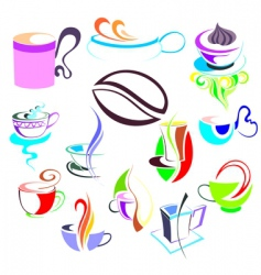 coffee tea elements vector image