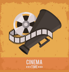Colorful poster of cinema time with film reel and vector