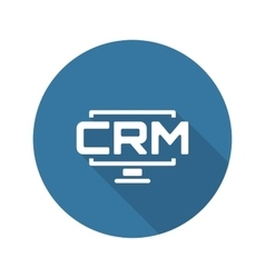 Desktop crm system icon flat design vector