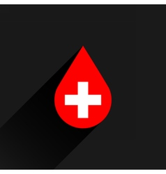 Donate drop blood red sign with white cross vector image vector image