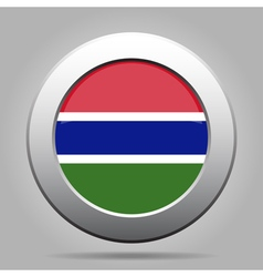Flag of Gambia Shiny metal gray round button vector image vector image