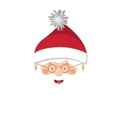 Full color with head santa claus with glasses vector