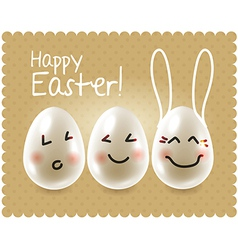 Funny easter eggs fooling around characters vector image