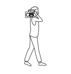 Guy walking listen music stereo radio outline vector