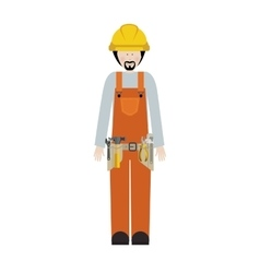 Man worker with toolkit and beard vector