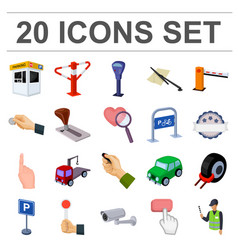 parking for cars cartoon icons in set collection vector image vector image