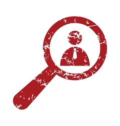 Red grunge search person logo vector