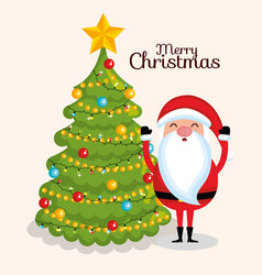 santa claus in front of christmas tree merry vector image