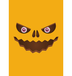 Scary face of halloween pumpkin vector