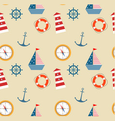 Seamless pattern of marine theme set vector