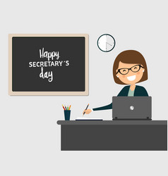 secretary smiling at workplace on grey background vector image