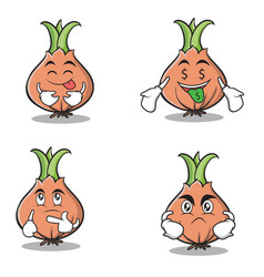 set collection onion character cartoon vector image vector image