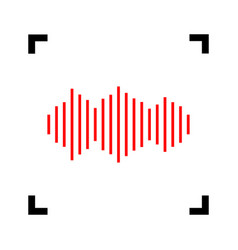 sound waves icon red icon inside black vector image