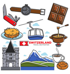 switzerland travel sightseeing icons and vector image vector image