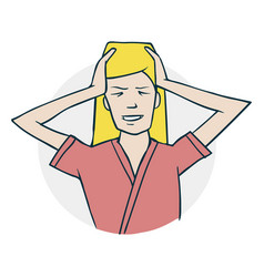 the woman has a headache vector image vector image