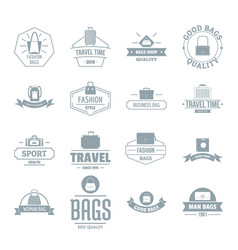 travel baggage logo icons set simple style vector image vector image