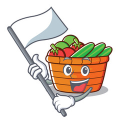 With flag fruit basket character cartoon vector