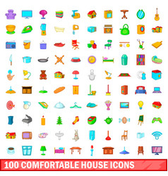 100 comfortable house icons set cartoon style vector image