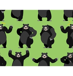 Baribal seamless pattern american black bear vector