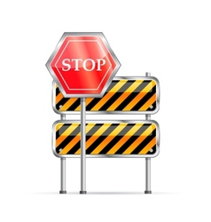 Stop road sign and striped barrier vector