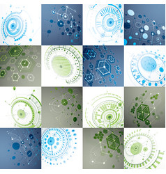 Set of 3d abstract backgrounds created in vector
