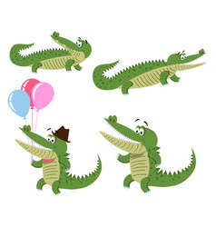 Friendly cartoon crocodiles set vector