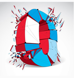 Abstract 3d faceted zero number with connected vector