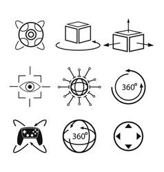 Set virtual reality vision digital degree 3d vector