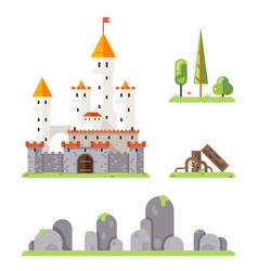 Castle game screen concept adventurer rpg flat vector