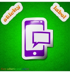 Message sms icon sign symbol chic colored sticky vector