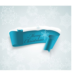 Winter banner blue realistic ribbon and snow vector