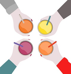 Colorful of fruit cocktails in hands with vi vector