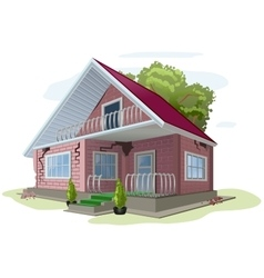 Brick cottage with cracks on walls red brick vector
