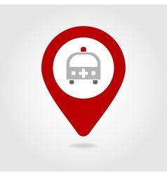 Ambulance map pin icon vector