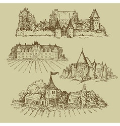 Four drawings of castles vector
