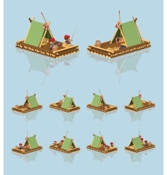 Low poly wooden raft vector