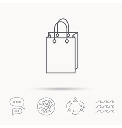 Shopping bag icon sale handbag sign vector