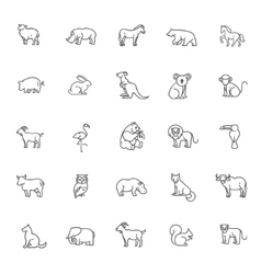 Animal icons zoo line icons animal vector