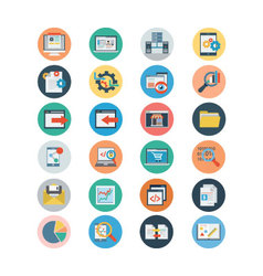 Universal web flat colored icons 1 vector