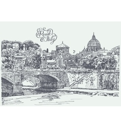 Drawing of rome italy famous cityscape with hand vector
