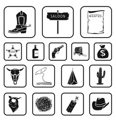 attributes of the wild west black icons in set vector image