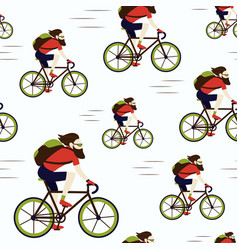 Bike delivery messenger hipster seamless pattern vector