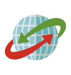 blue sphere world with red and green arrow around vector image