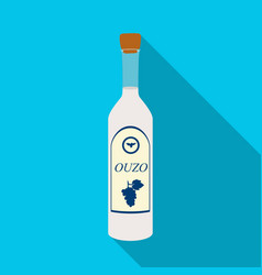 Bottle of ouzo icon in flat style isolated on vector
