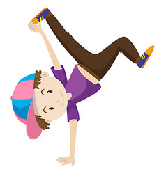 Boy doing hand flipping vector image vector image