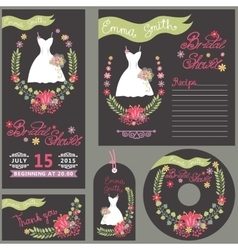 Bridal shower design template card set with dress vector